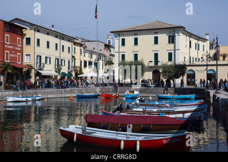 Boats in the harbour, Lazise, Lake Garda, region Veneto, province Verona, Italy, Europe - Stock Photo