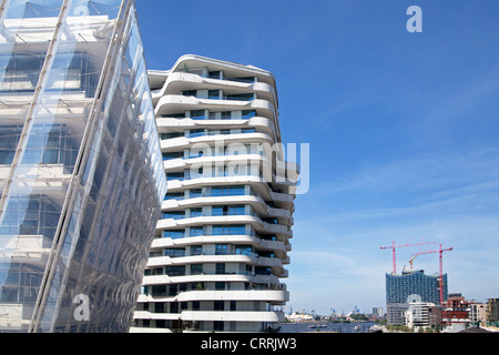 Unilever House, Marco Polo Tower and Elbe Philharmonic Hall, Harbour City, Hamburg, Germany - Stock Photo