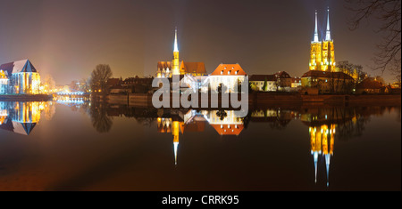 panorama cathedral island (Dominsel) in Wroclaw, Poland, at night - Stock Photo