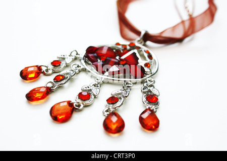 Colorful gem stones necklace jewelry - Stock Photo