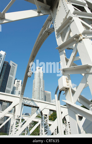 Looking at the skycrapers of the city centre from Anderson Bridge at the mouth of the Singapore river - Stock Photo