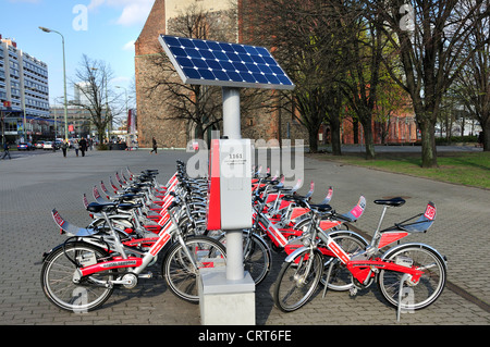 Berlin, Germany. 'Call a Bike' rental bicycles provided by Deutsche Bahn (German railways) Solar-Powered collection - Stock Photo