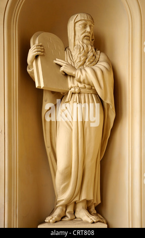 Berlin, Germany. Franzosischer Dom / French Cathedral in Gendarmenmarkt. Statue outside - Moses with the Ten Commandments - Stock Photo