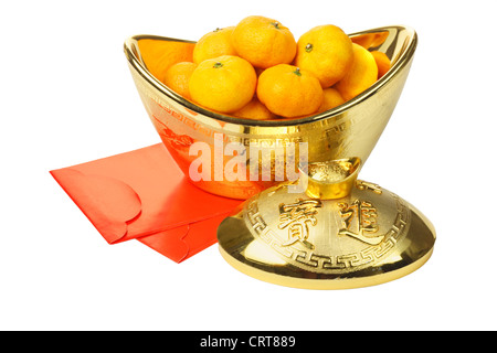 Chinese New Year Mandarin Oranges in Gold Ingot Container and Red Packets on White Background - Stock Photo
