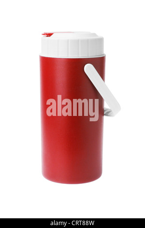 Red Plastic flask with Handle on White Background - Stock Photo