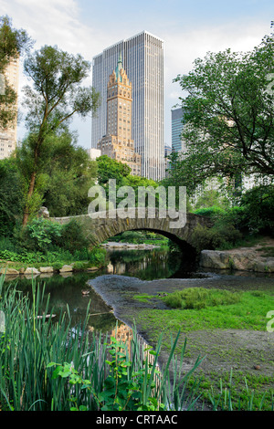Gapstow bridge in Central Park. Central Park is a public park at the center of Manhattan, New York City, USA. - Stock Photo