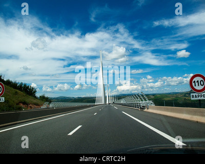 Approaching the Millau bridge in a car, the worlds tallest bridge in southern France - Stock Photo