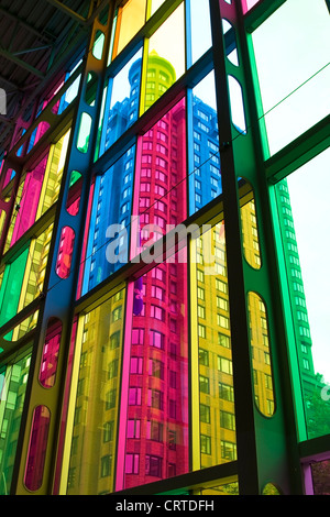 Colourful stained glass windows in the Palais des congres de Montreal, Quebec - Stock Photo