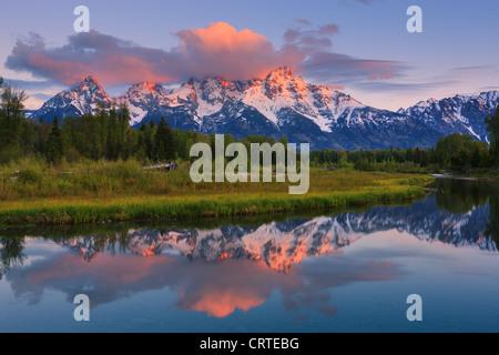 Sunrise at Schwabacher Landing at Grand Teton National Park in Wyoming, USA - Stock Photo