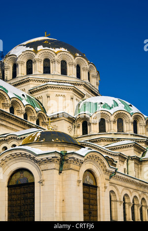 Alexander Nevsky Cathedral Church Domes with snow in winter in Sofia, Bulgaria - Stock Photo