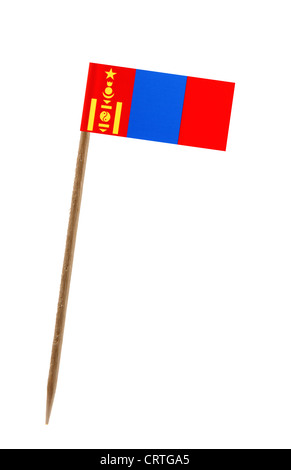Tooth pick wit a small paper flag of Mongolia - Stock Photo