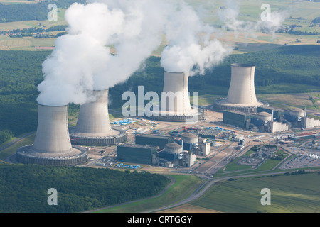 CATTENOM NUCLEAR POWER PLANT (aerial view). Near Thionville, Lorraine, France. - Stock Photo