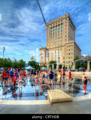 Pack Square Park in Asheville, North Carolina, USA - Stock Photo
