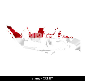 Map of Indonesia with waving flag isolated on white - Stock Photo