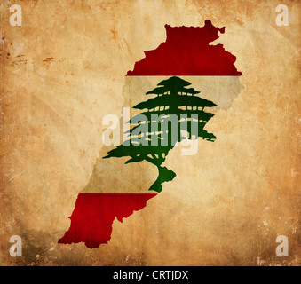 Vintage map of Lebanon on grunge paper - Stock Photo
