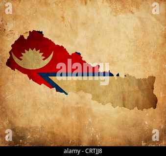 Map and flag of Nepal on old linen Stock Photo: 166794915 - Alamy