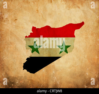 Vintage map of Syria on grunge paper - Stock Photo