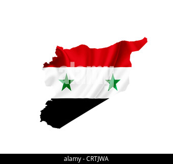Map of Syria with waving flag isolated on white - Stock Photo