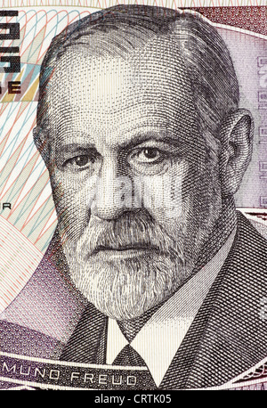 Sigmund Freud (1856-1939) on 50 Shilling 1986 Banknote from Austria. - Stock Photo