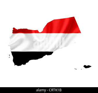 Map of Yemen with waving flag isolated on white - Stock Photo