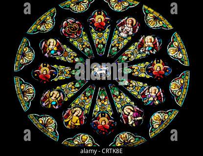Rose Stained Glass Window Saint Peter and Paul Catholic Church San Francisco California - Stock Photo