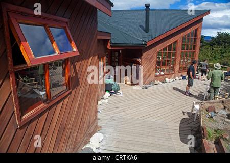 Refugio Los Cuernos in Torres del Paine National Park - Stock Photo