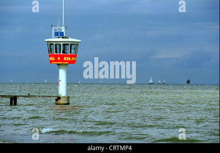 DLRG watchtower Luebeck Bay, close of Travemuende - Stock Photo