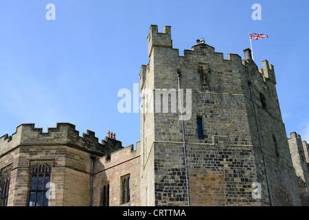 union jack flag flying on Raby Castle, County Durham, UK - Stock Photo
