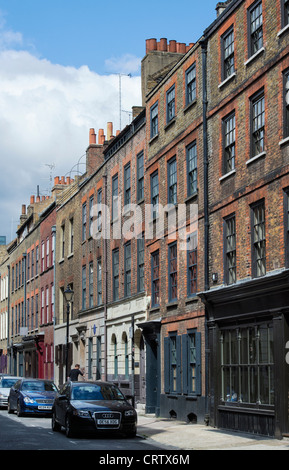 Princelet street, Victorian terraced houses, Spitalfields, Tower Hamlets, East End. London. England - Stock Photo