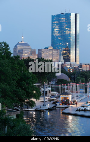 Community Sailing dock on the Charles River with the Back Bay skyline, Boston, Massachusetts - Stock Photo