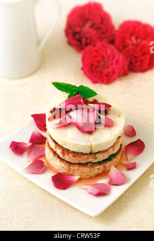 Fresh cheese with roses jam. Recipe available - Stock Photo