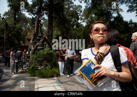 Chinese tourists in the Imperial Flower Garden - Yuhuayuan inside The Forbidden City, Beijing. - Stock Photo