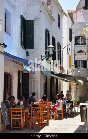Street cafe, Carrer D'Alaior, Mahón, Menorca, Balearic Islands, Spain - Stock Photo