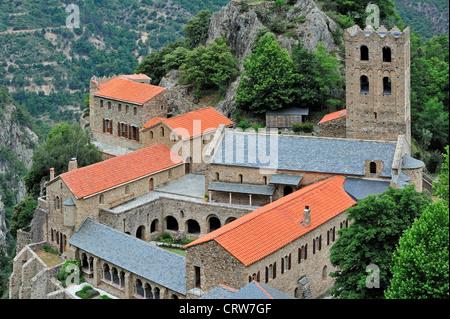 Saint-Martin-du-Canigou, Benedictine abbey in the Canigou mountains at Casteil in the Pyrénées-Orientales, Pyrenees, - Stock Photo