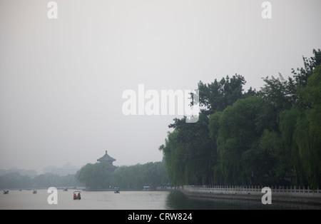 Shichahai lake at sunset, Beijing, China. - Stock Photo