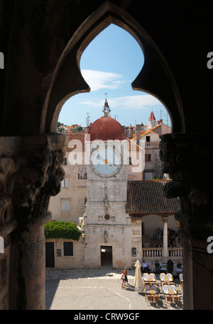 A view to clock tower in Trogir town - Stock Photo