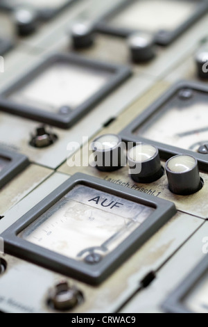 Exhibit of control room at former coal fired power station at Deutsche Arbeitsschutzausstellung DASA or German Museum - Stock Photo
