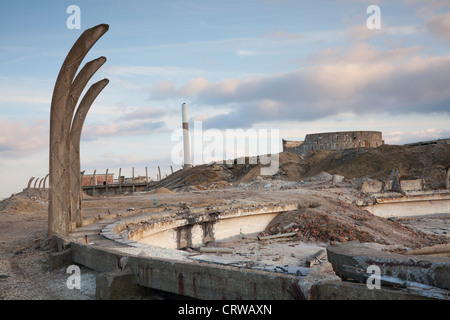 The recently demolished Steetley magnesite works north of Hartlepool, with chimney in background. - Stock Photo