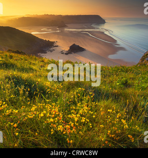 Three Cliffs Bay from Penmaen Burrows, Gower, Wales - Stock Photo