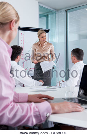 Businesswoman with report leading meeting in conference room - Stock Photo