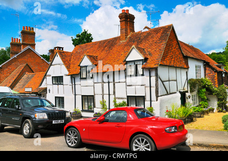 Cottages in the picturesque village of Shere in Surrey, England, UK - Stock Photo