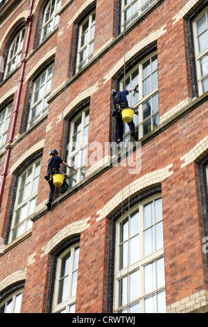Abseilers cleaning windows on building - Stock Photo
