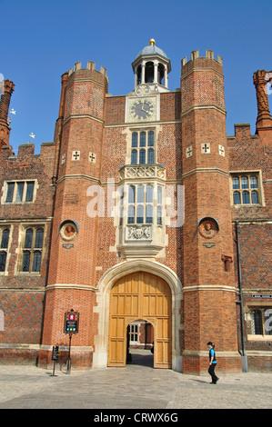 Clock tower in Base Court, Hampton Court Palace, Hampton, London Borough of Richmond upon Thames, Greater London, - Stock Photo