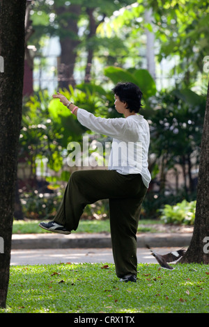 A young Thai woman practicing tai-chi-chuan in the early morning (Bangkok) Jeune femme Thaïlandaise pratiquant le - Stock Photo