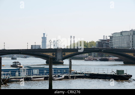 Thames River,Chelsea Embankment,SW3,Most Prestigious London Postcode, Luxury Houses,Villas,Apartments,House Boats,London - Stock Photo
