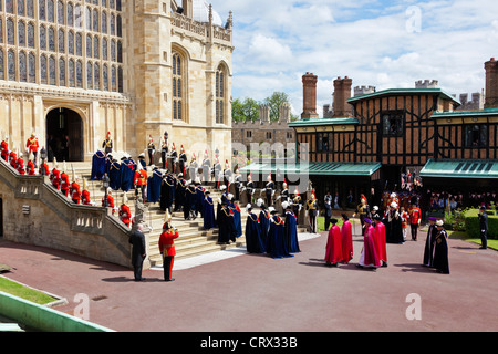 Companions and Officers of the Most Noble Order of the Garter, Garter Day ceremony Windsor Castle 18 June 2012. - Stock Photo