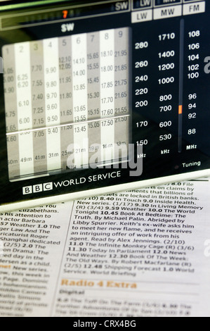 A BBC World Service radio resting on a newspaper showing radio programme schedules. - Stock Photo