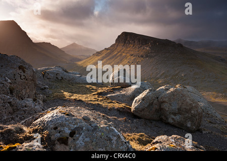 Mountainous interior of the island of Streymoy, one of the Faroe Islands. Spring (June) 2012. - Stock Photo