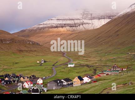 Village of Gjogv on the island of Eysturoy, Faroe Islands. Spring (June) 2012. - Stock Photo