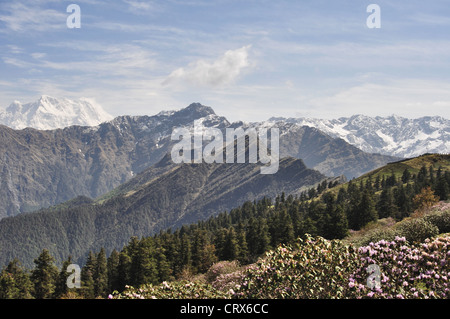 Landscape view of Himalayan ranges from Nepal - Stock Photo